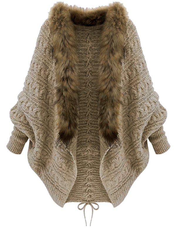 Plus Size Batwing Sleeve Faux Fur Lace Up Chunky Cardigan - CAMEL BROWN ONE SIZE