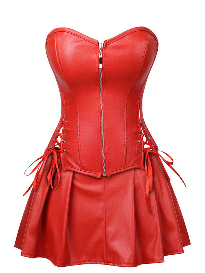 Lace Up Zip Front Faux Leather Corset Set - RED S
