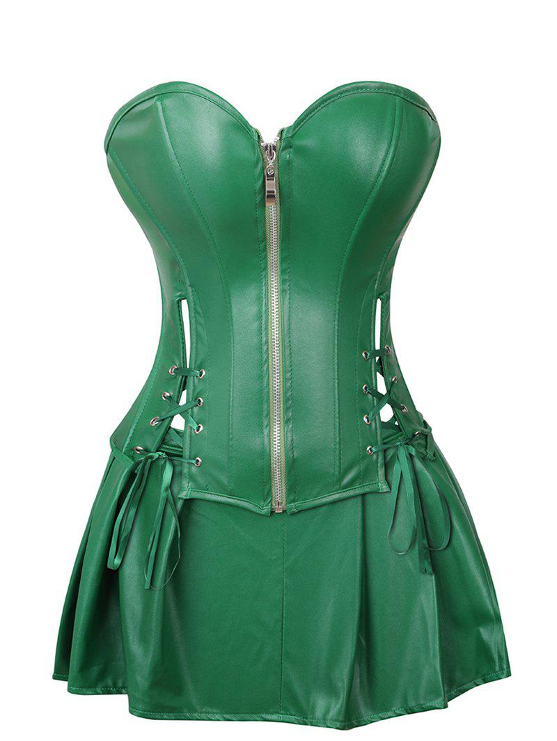 Lace Up Zip Front Faux Leather Corset Set - MEDIUM SPRING GREEN XL