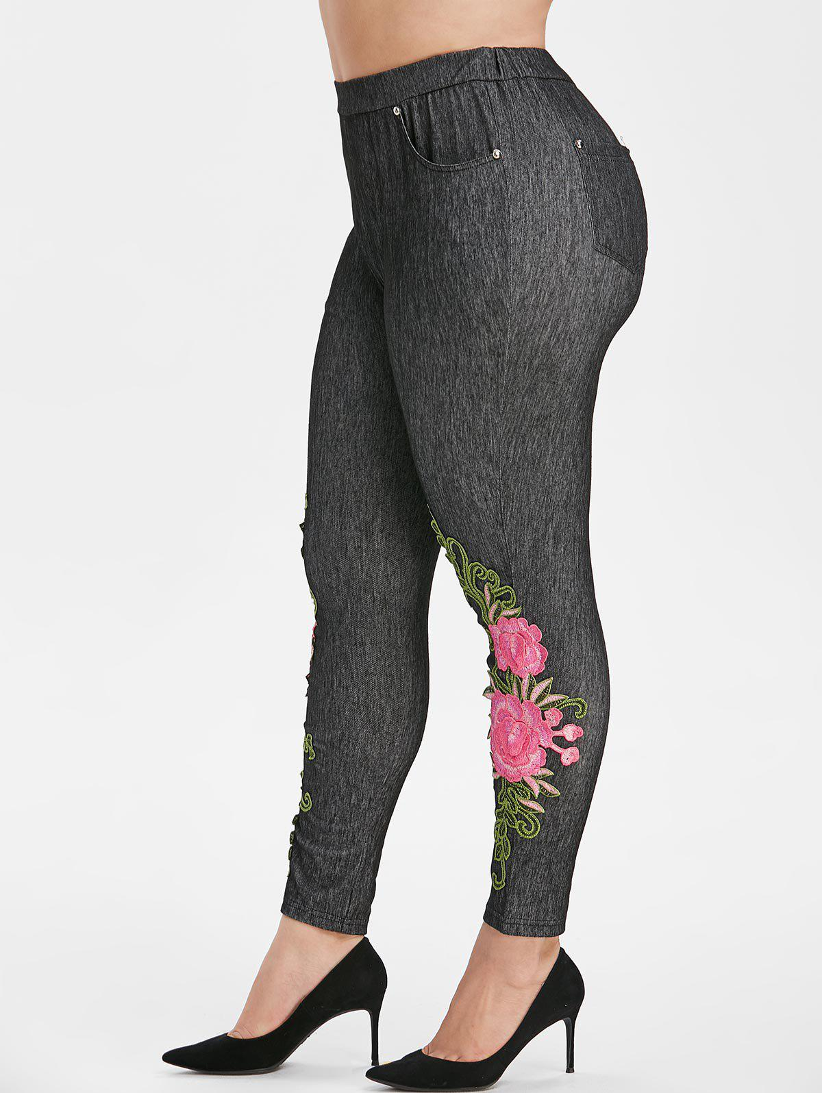 Floral Applique High Waisted Pockets Plus Size Skinny Pants - BLACK 5X