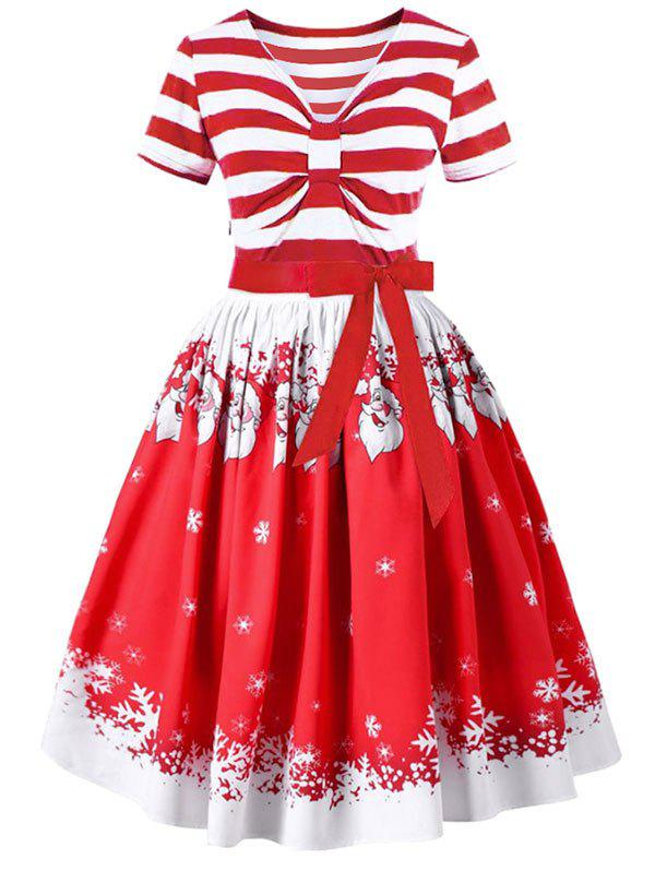 Christmas Santa Claus and Stripe Print Belted Vintage Flare Dress - RED M
