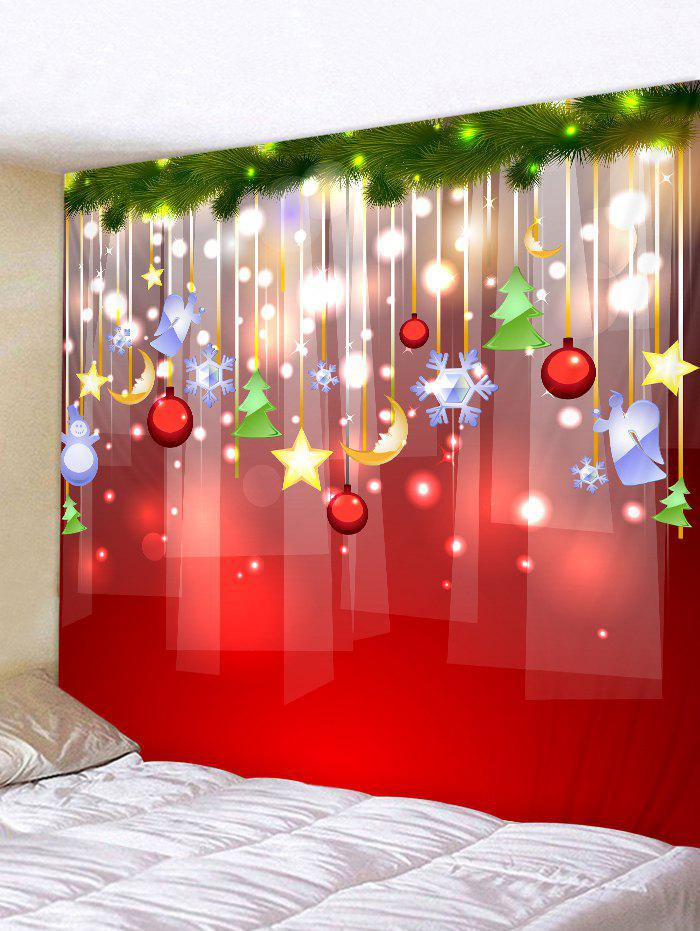 Christmas Decoration Print Wall Tapestry - LAVA RED W79 X L71 INCH
