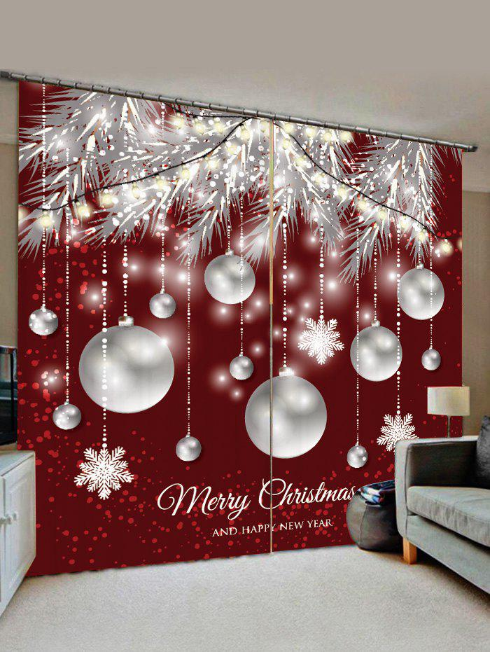Christmas Snowflake Ball Pattern Window Curtains - RED WINE W33.5 X L79 INCH X 2PCS