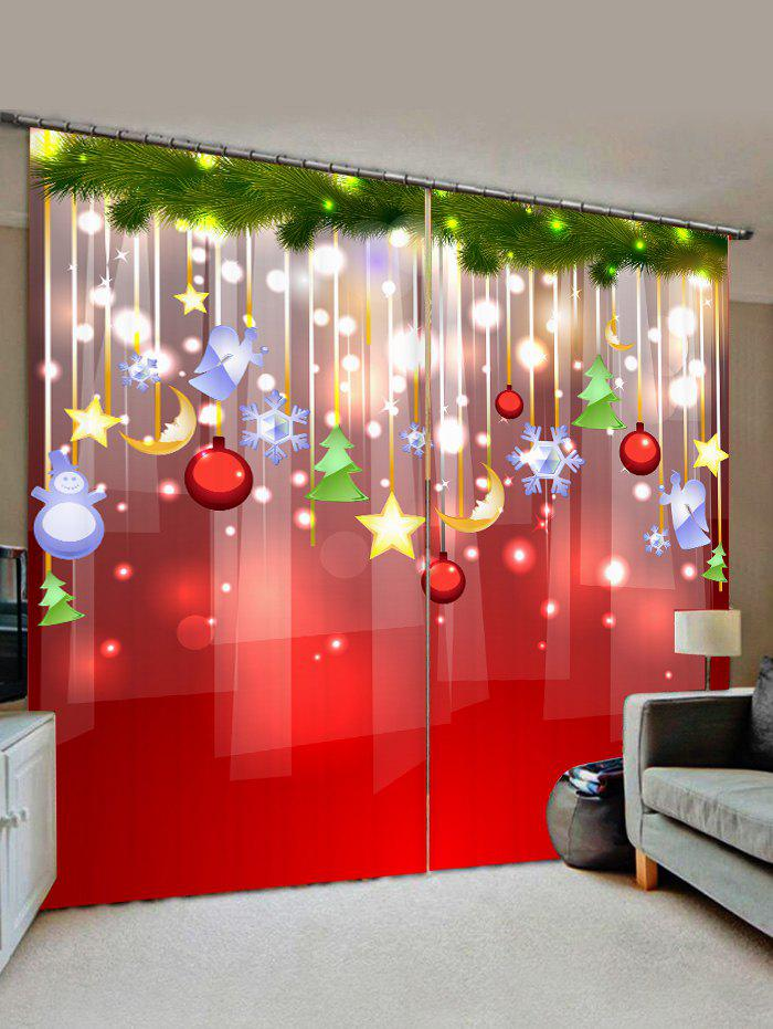 Christmas Star Pattern Window Curtains - RUBY RED W30 X L65 INCH X 2PCS