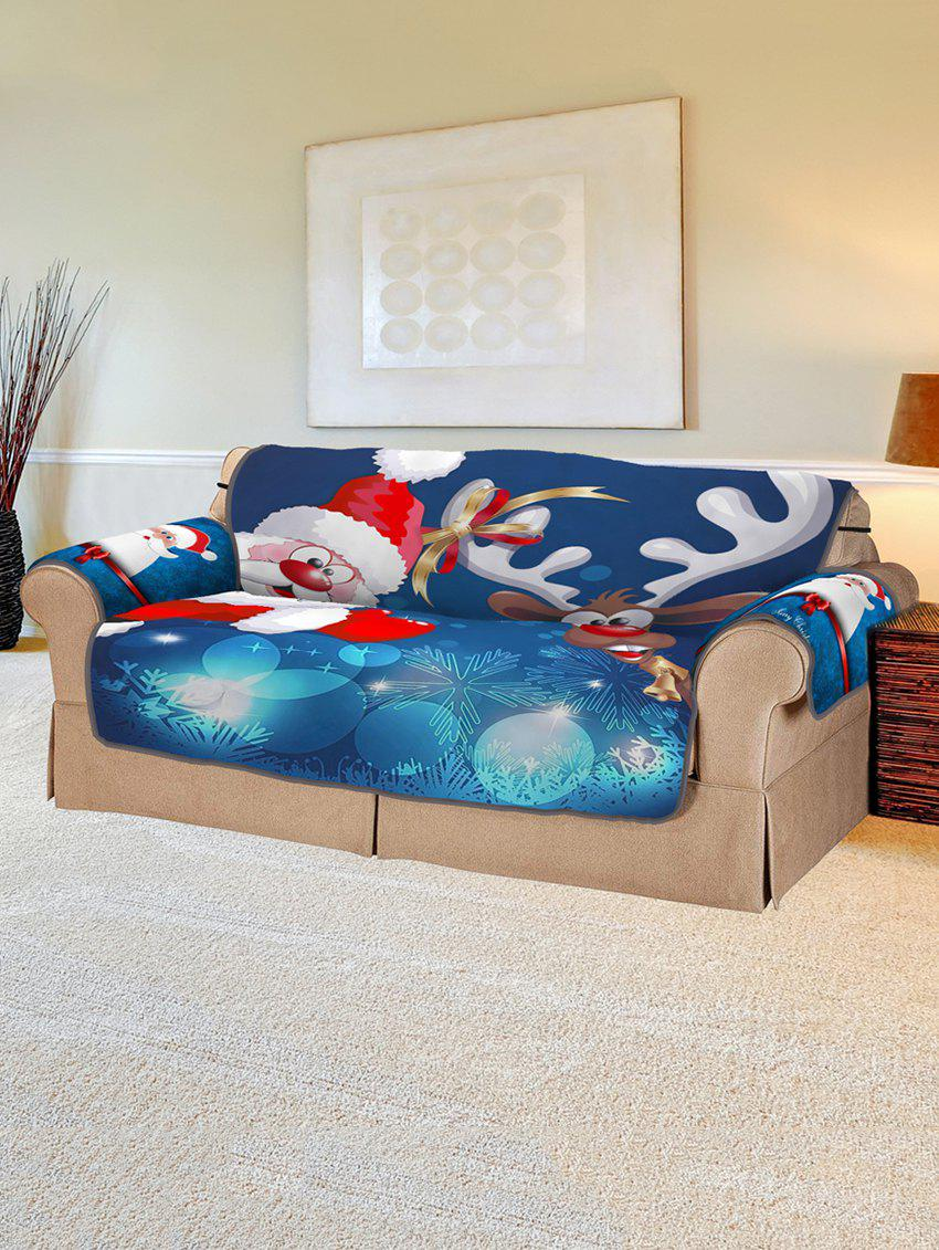 Christmas Santa Claus Elk Sleigh Pattern Couch Cover - multicolor TWO SEATS