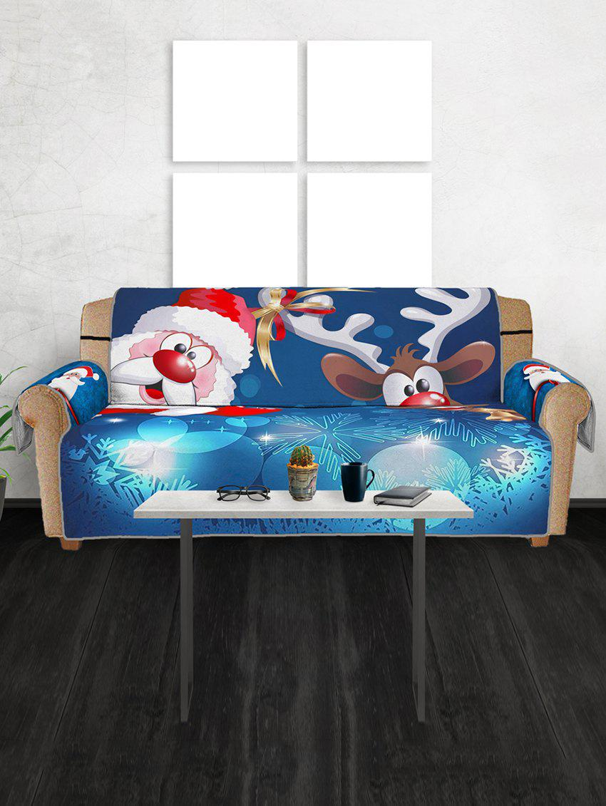 Christmas Santa Claus Elk Sleigh Pattern Couch Cover - multicolor THREE SEATS