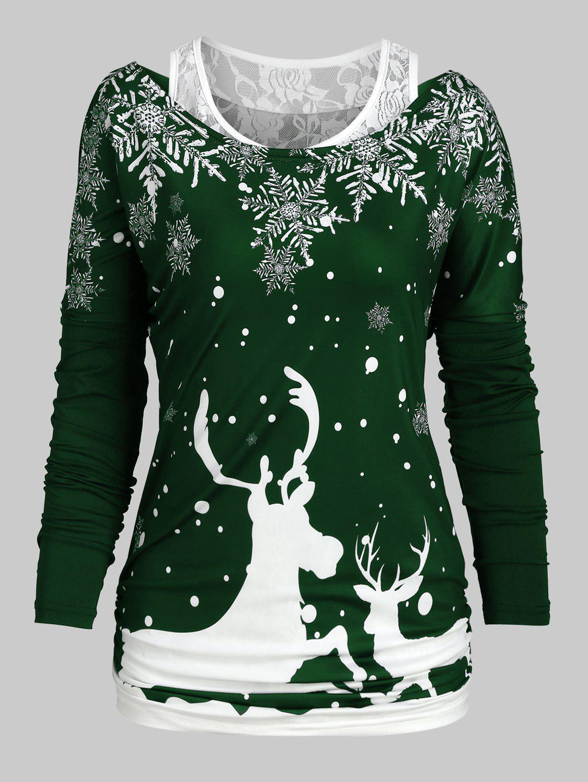 Christmas Elk Snowflake Long Sleeve Tee and Lace Tank Top Set - MEDIUM AQUAMARINE XL