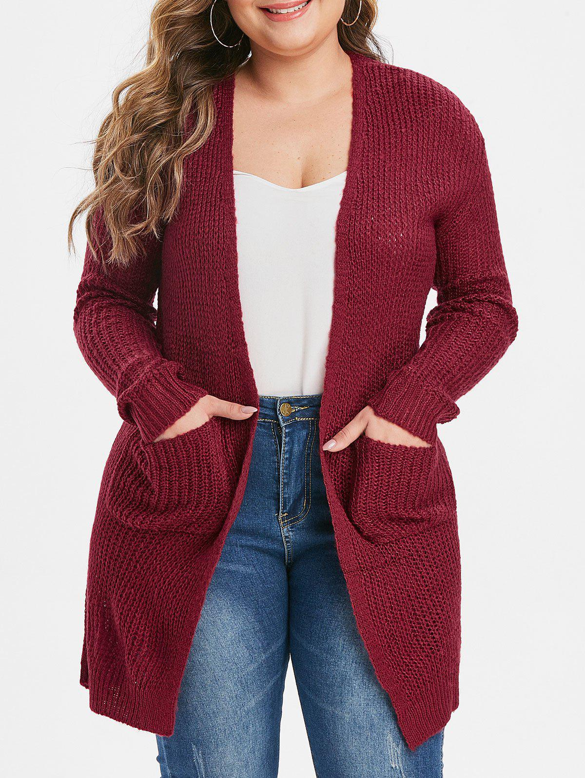 Plus Size Dual Pockets Open Cardigan - RED M