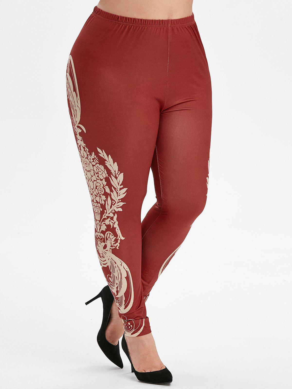Printed Side High Waisted Pull On Plus Size Leggings - RED WINE 4X