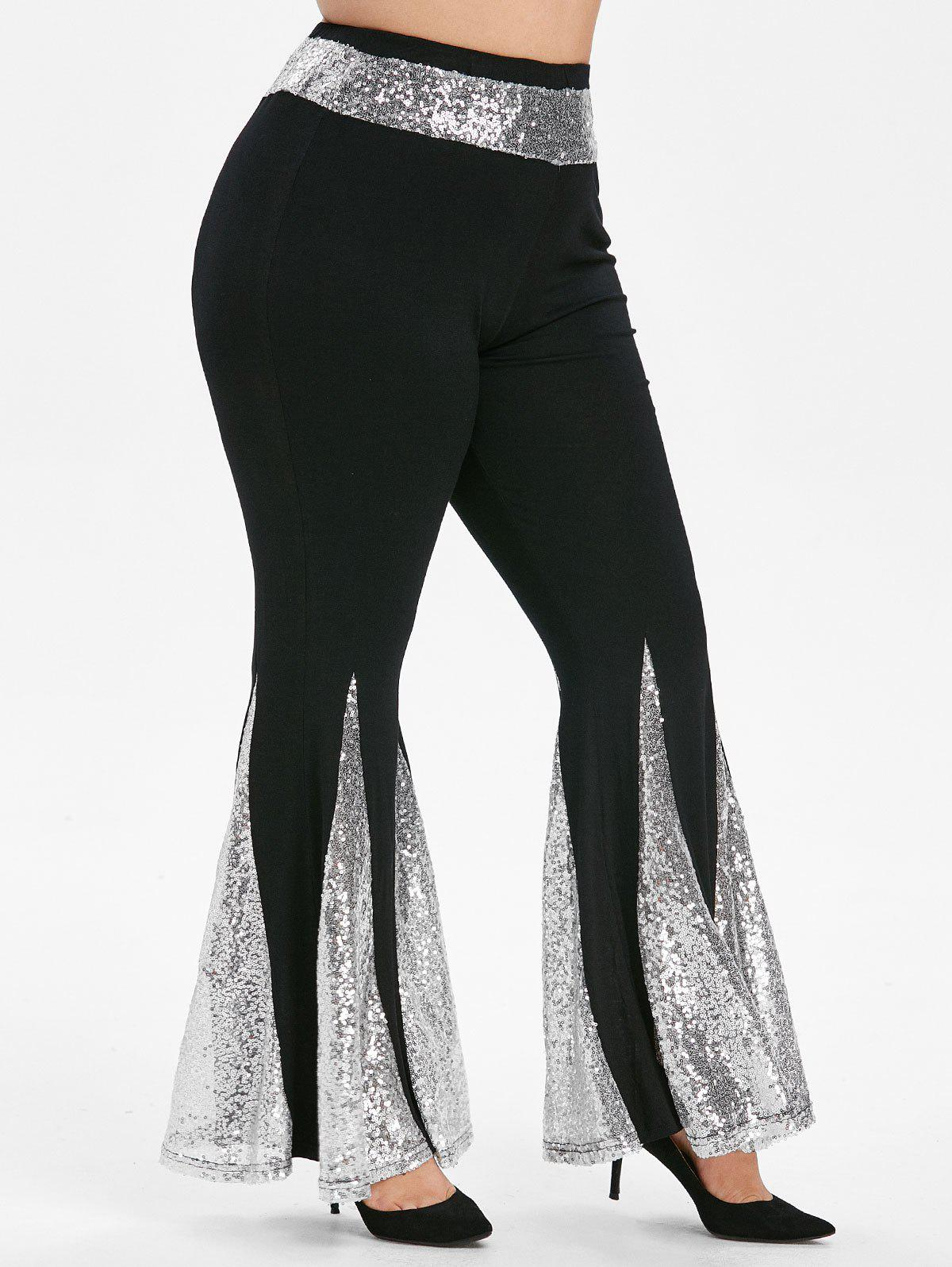 Sequined High Waisted Plus Size Flare Pants - BLACK 1X