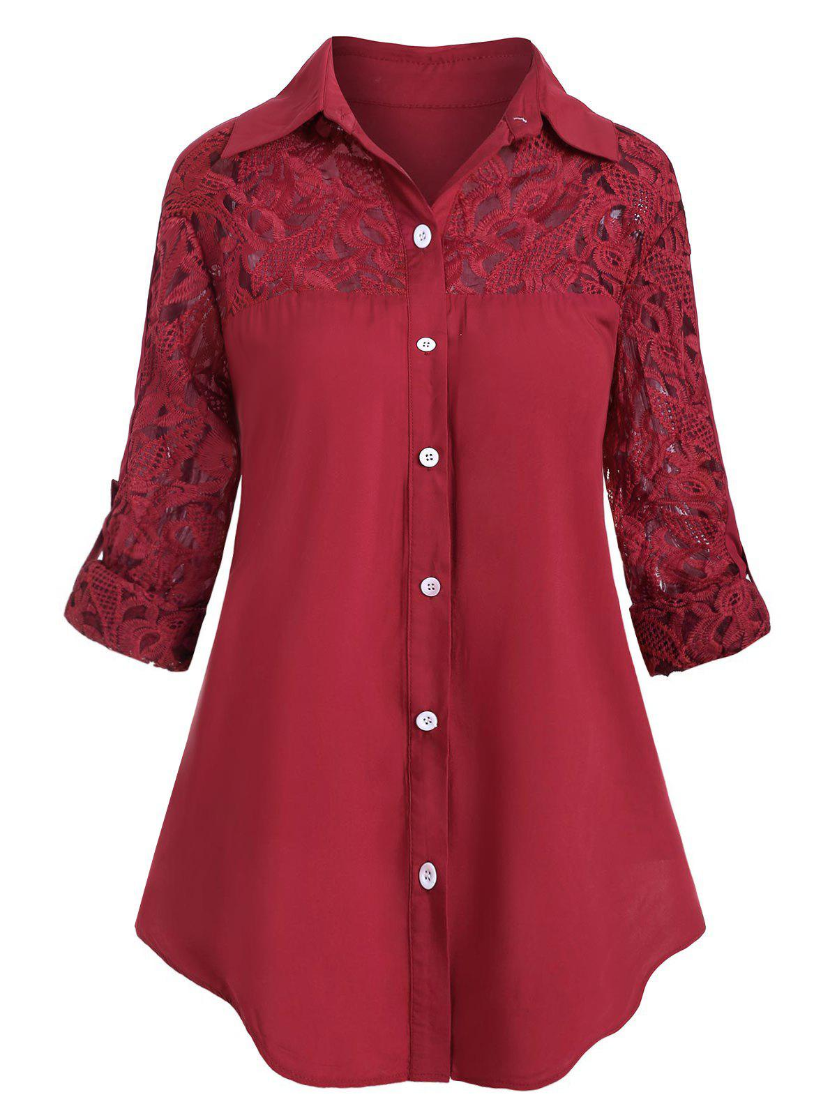 Plus Size Lace Insert Roll Up Sleeve Shirt - RED WINE 4X