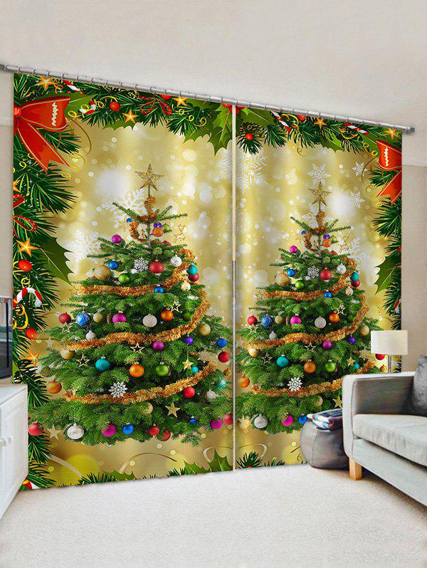 2 Panels Christmas Balls Tree Bowknot Print Window Curtains - multicolor W28 X L39 INCH X 2PCS