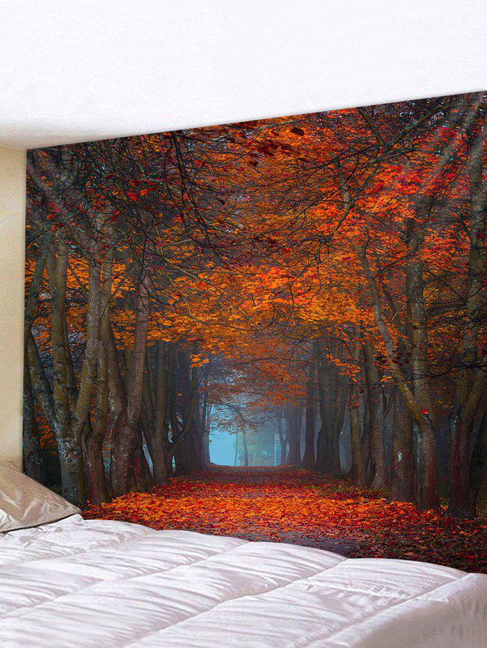 Maple Forest Road Printed Tapestry Wall Hanging Art Decoration - multicolor W59 X L59 INCH