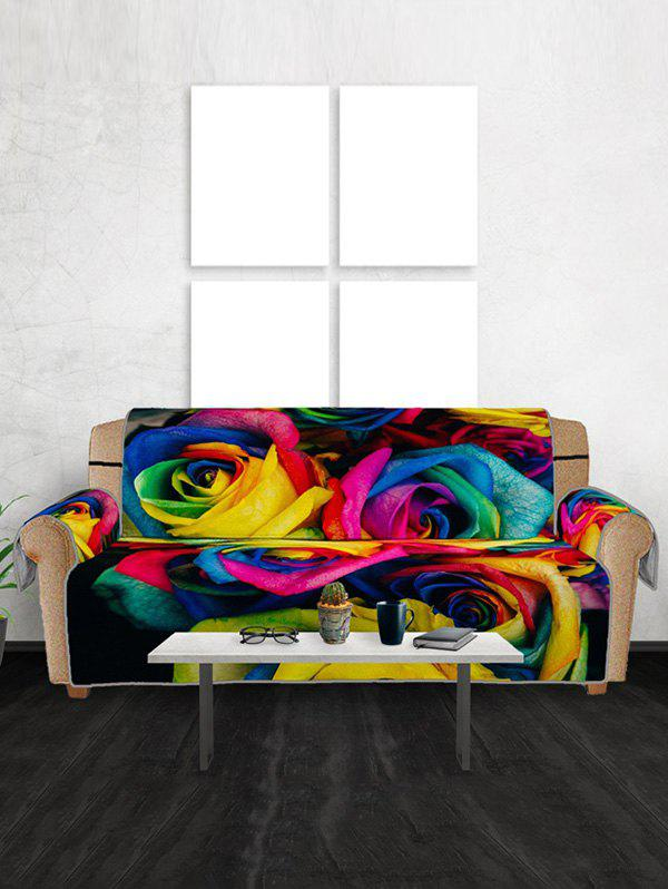 Colorful Rose Flowers Pattern Couch Cover - multicolor THREE SEATS