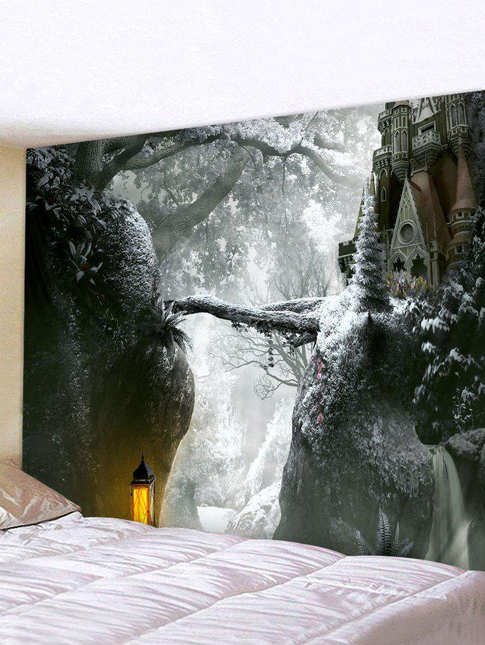Christmas Castle Forest Print Tapestry Wall Hanging Art Decoration - multicolor W59 X L51 INCH