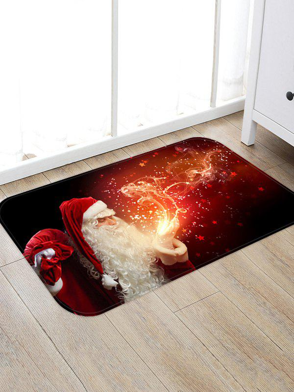 Christmas Santa Claus Patterned Water Absorption Area Rug - RED WINE W16 X L24 INCH