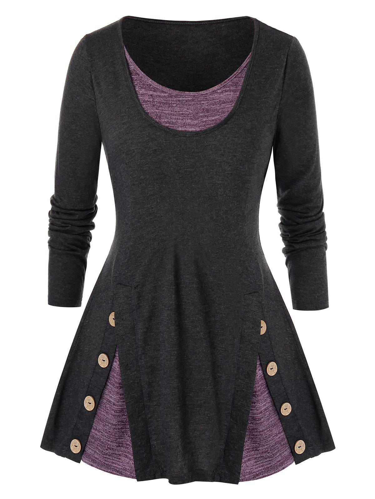 Plus Size Contrast Heathered Mock Button Faux Twinset T-shirt - DARK GRAY 2X