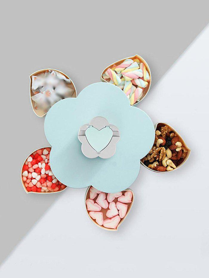 Flower Shape Rotating Snack Containers Candy Storage Box - BLUE SINGLE LAYER