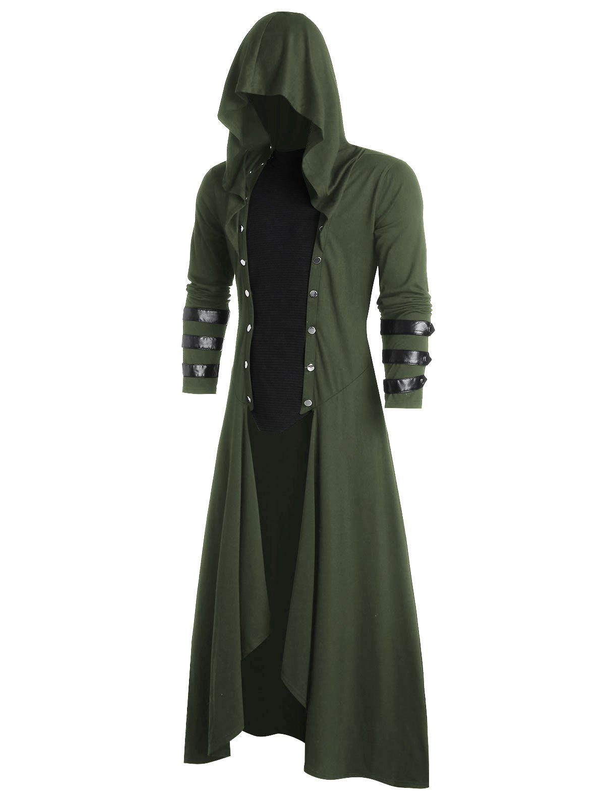Faux Leather Insert Button Up Gothic Hoodie - ARMY GREEN S