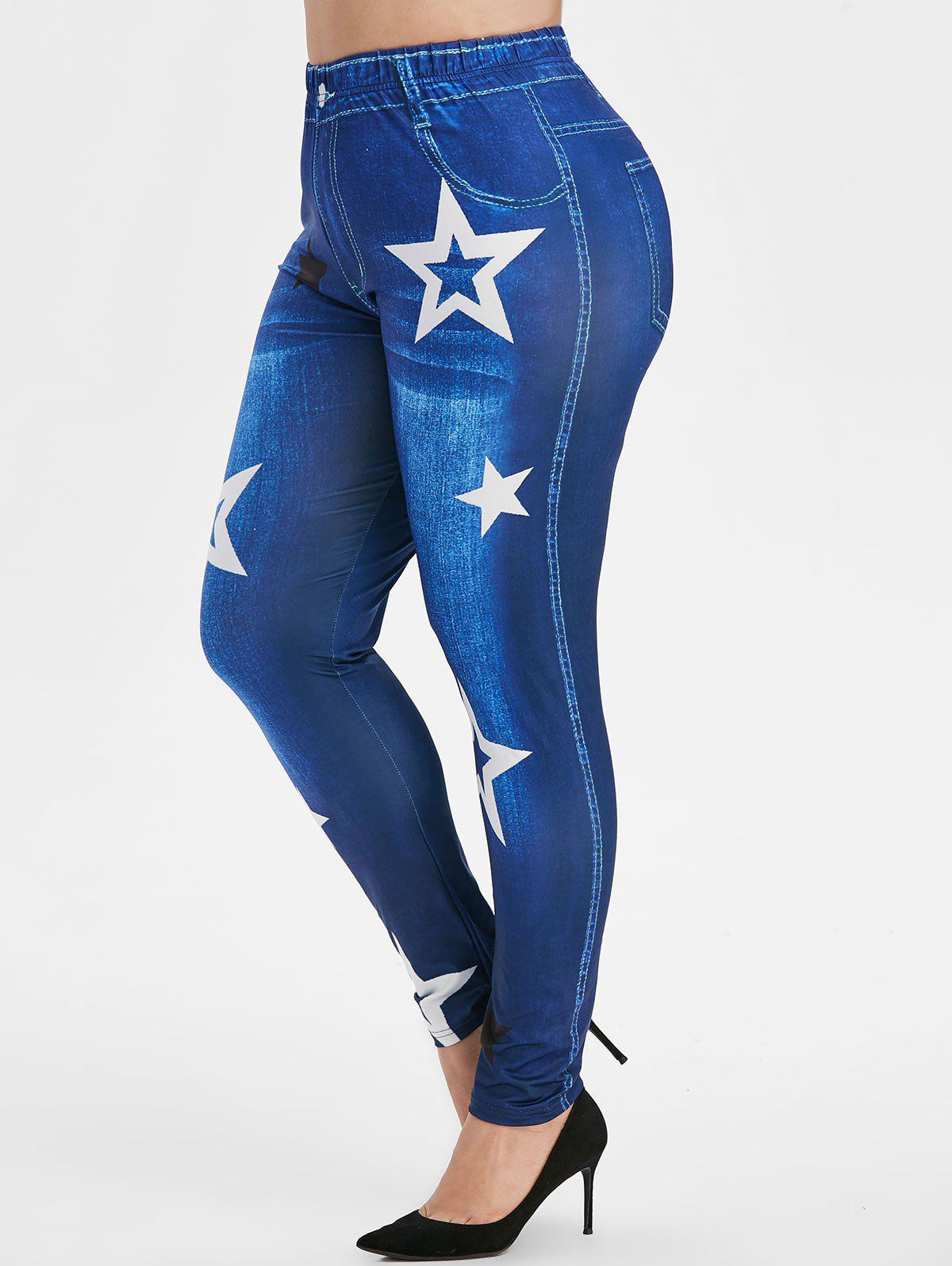 Contrast 3D Star High Waisted Pull On Plus Size Jeggings - DENIM DARK BLUE 5X