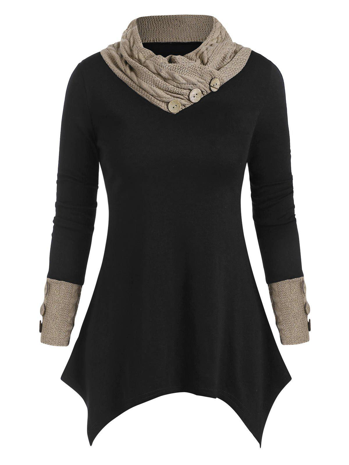 Buttons Cowl Neck Patched Asymmetric Top - BLACK S