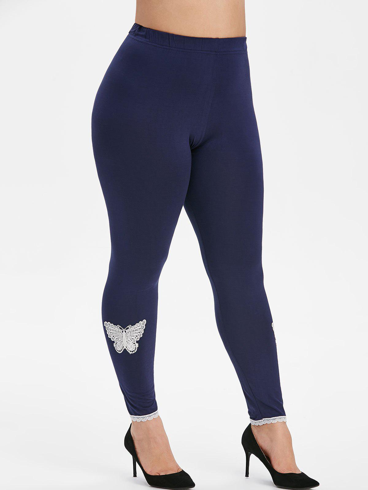 Butterfly Lace Panel High Waisted Plus Size Leggings - CADETBLUE 4X