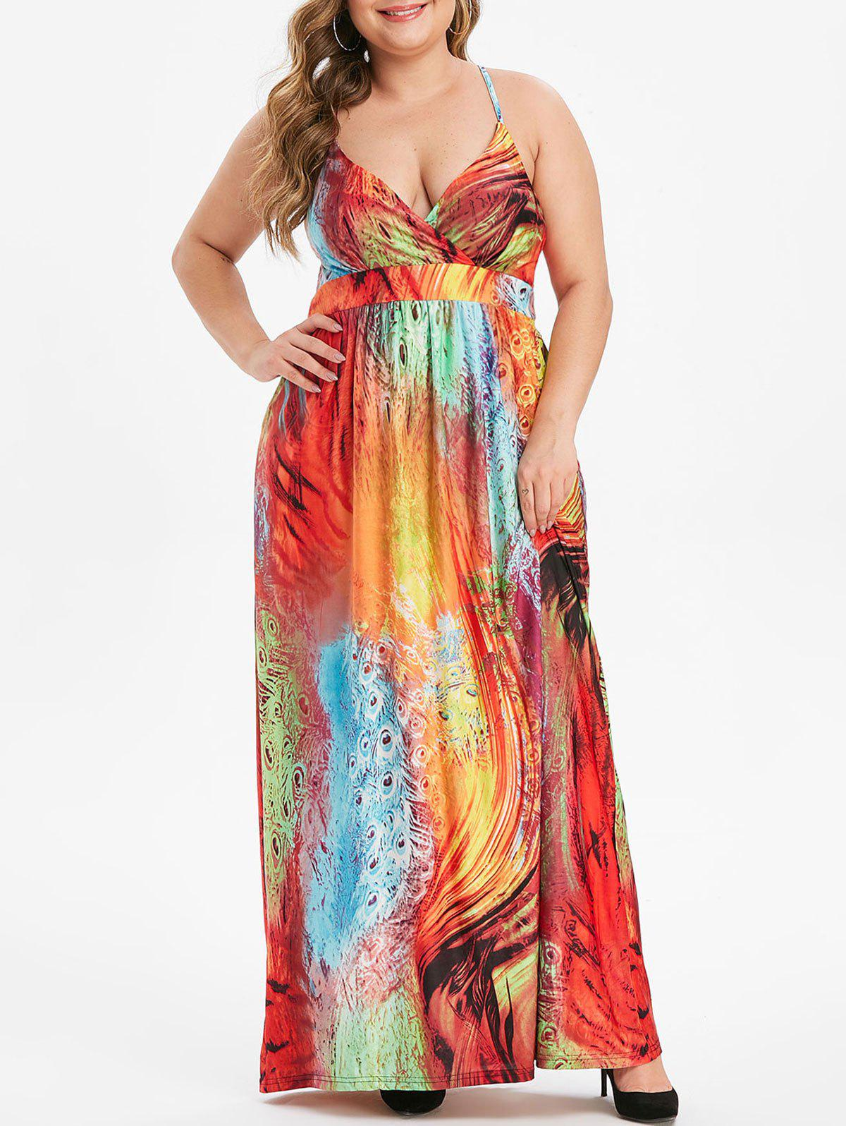 Feather Print Shirred Plus Size Cami Dress - multicolor 2X