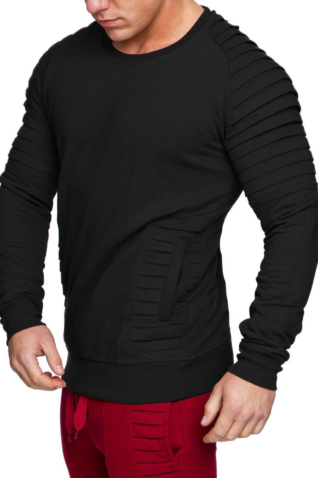 Drape Panel Design Casual Sweatshirt - BLACK 3XL