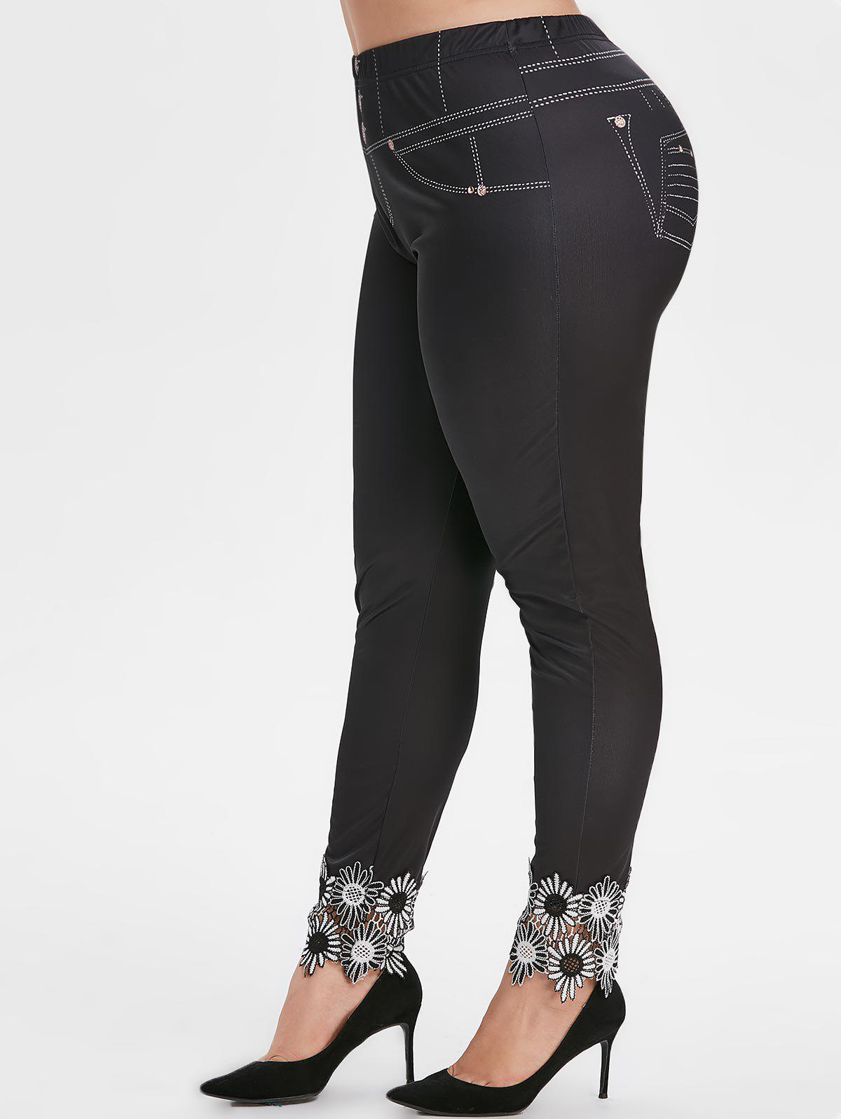 Plus Size High Rise Lace Applique 3D Leggings - BLACK 4X