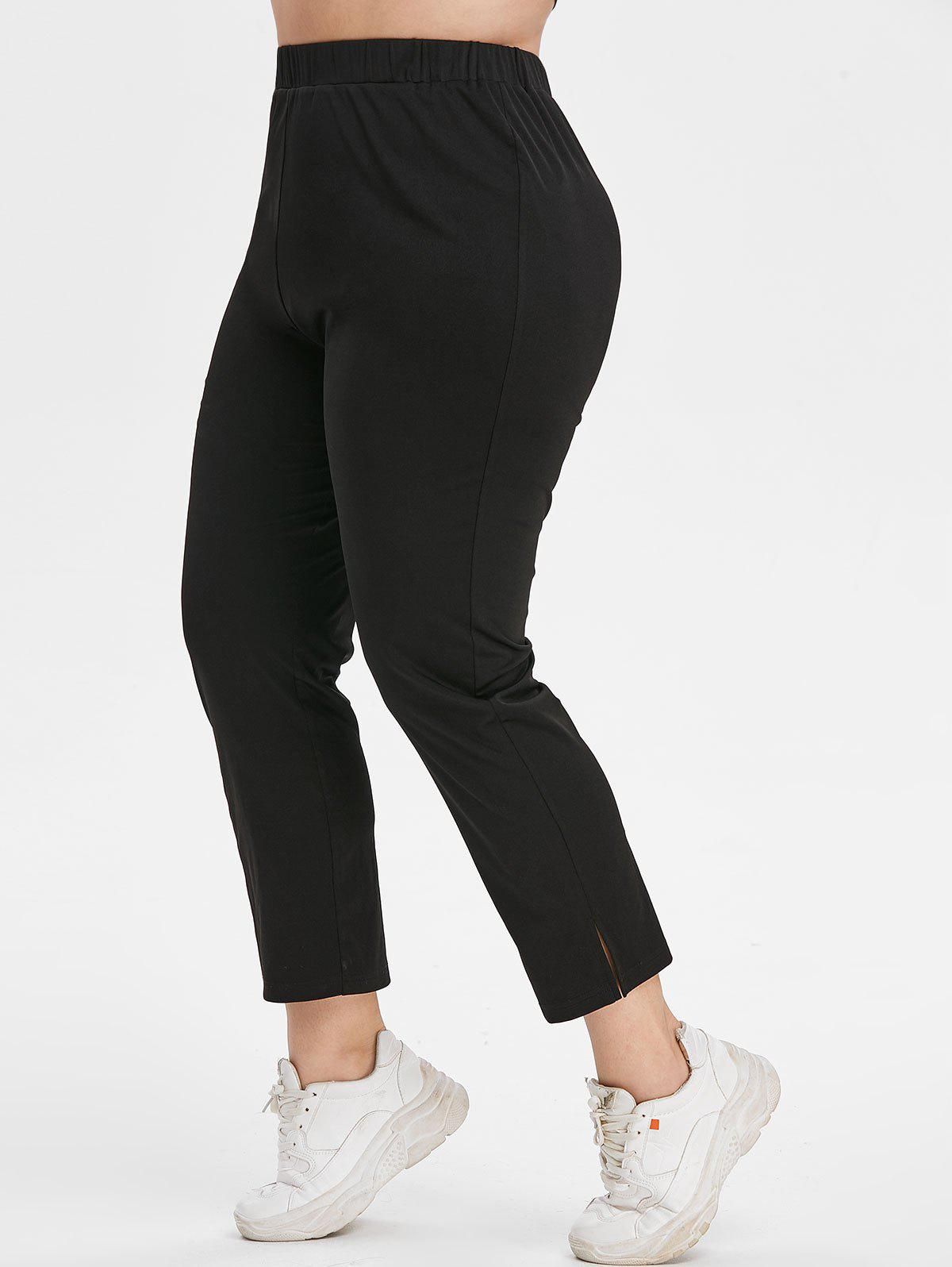 Plus Size Side Slit High Waisted Tapered Pants - BLACK 5X