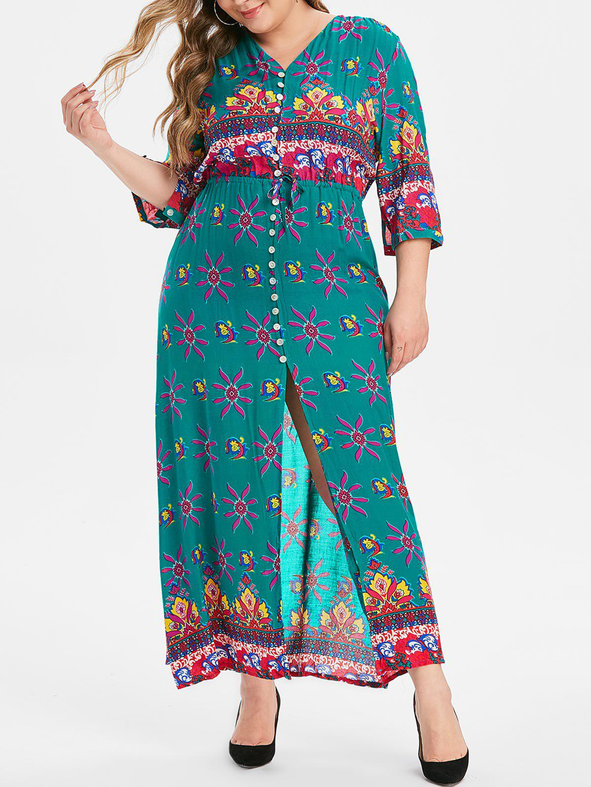 Floral Button Down Plus Size Maxi Dress - GREEN 1X