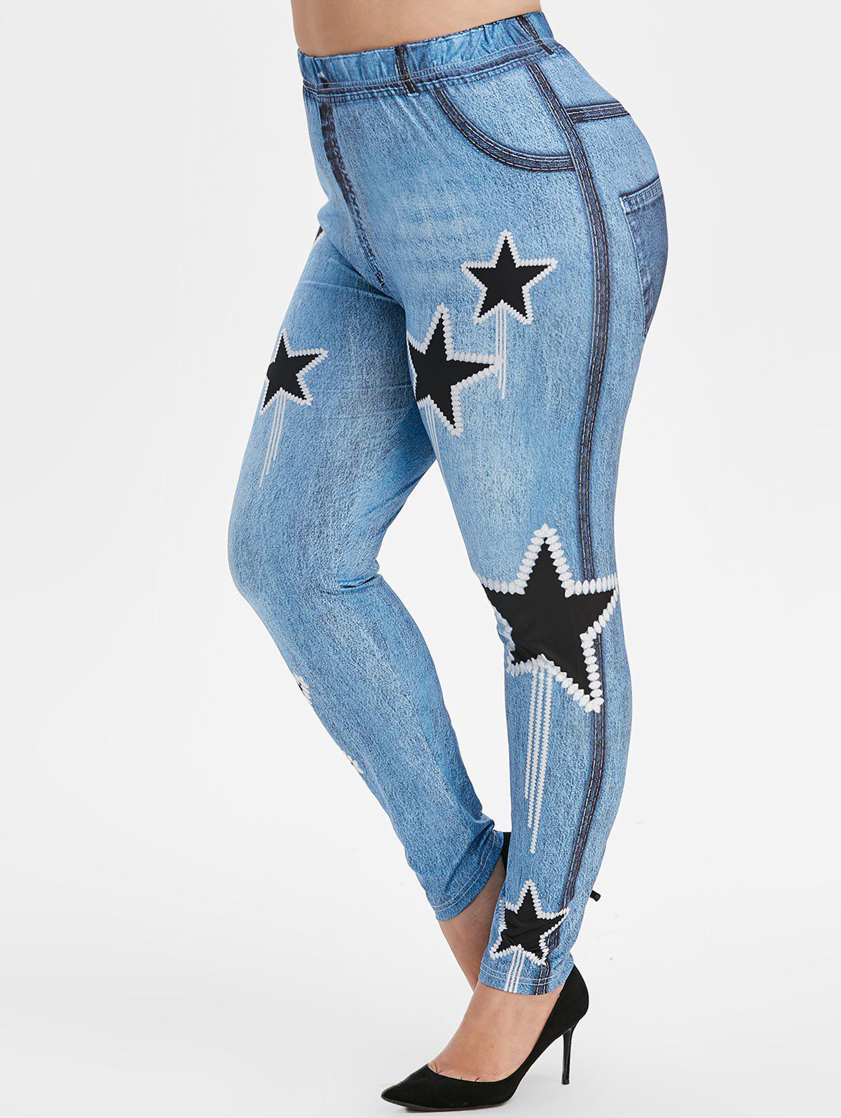 Plus Size Star Print Skinny 3D Jeggings - BLUE IVY 4X