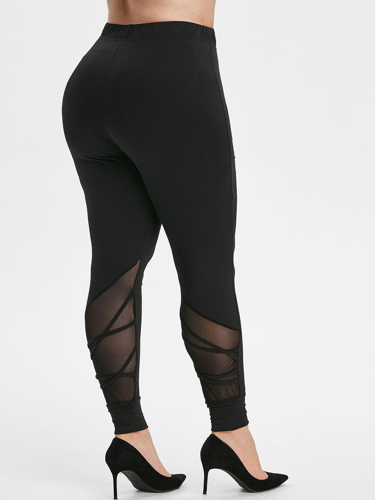 Plus Size Mesh Insert Criss-cross High Waisted Skinny Leggings - BLACK 1X