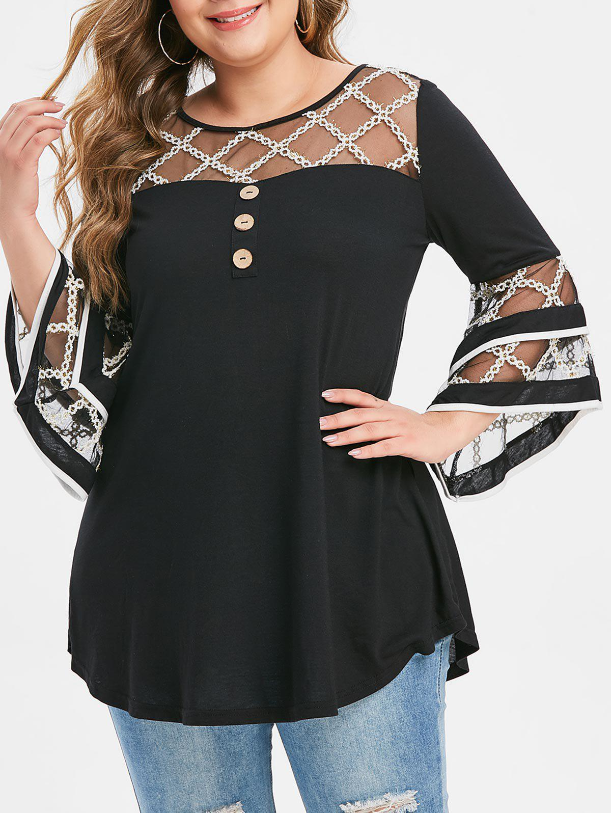 Plus Size Grid Mesh Insert Mock Button Flare Sleeve T-shirt - BLACK 4X