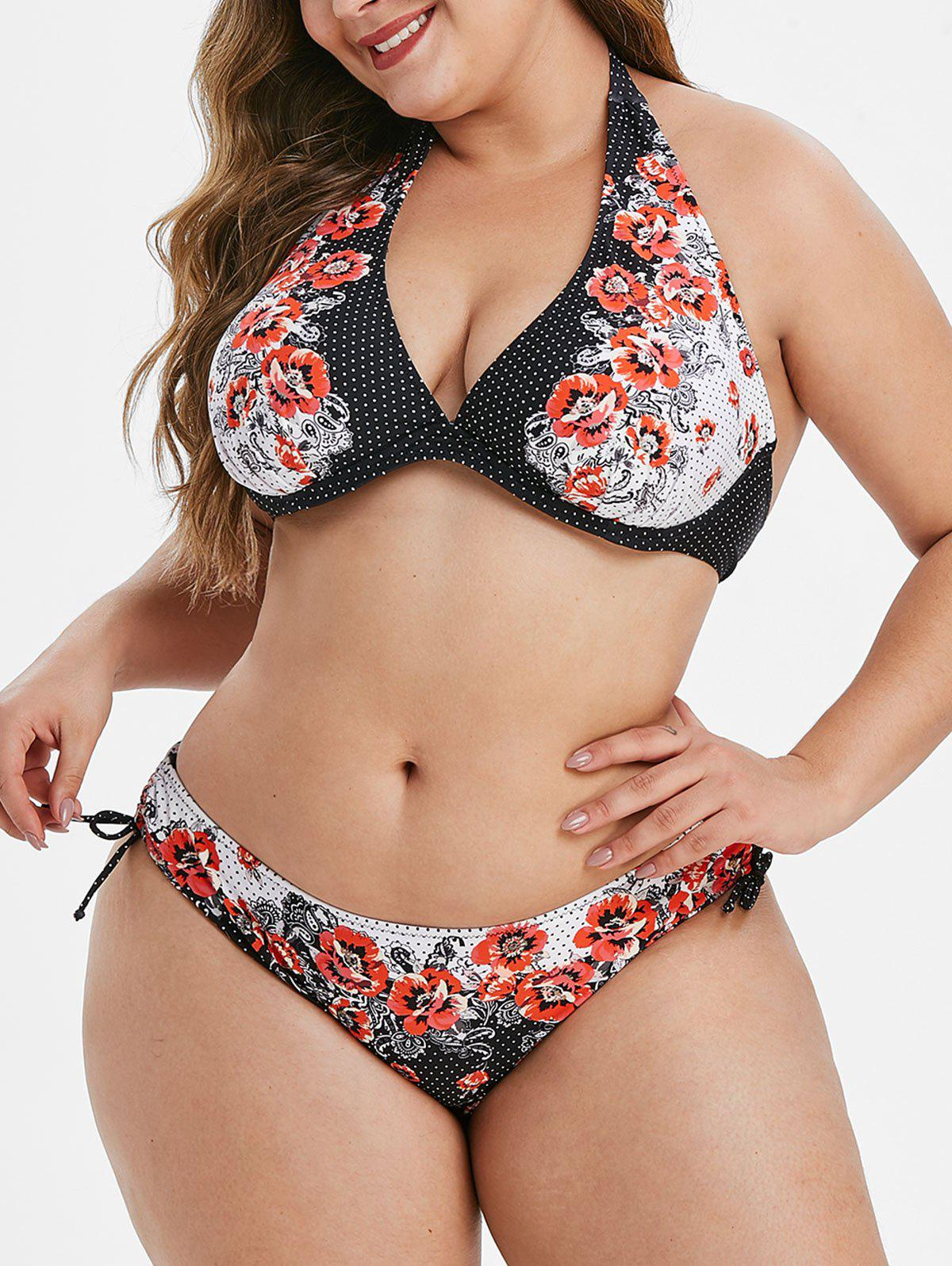 Halter Floral Polka Dot Underwire Plus Size Bikini Swimsuit - BLACK L