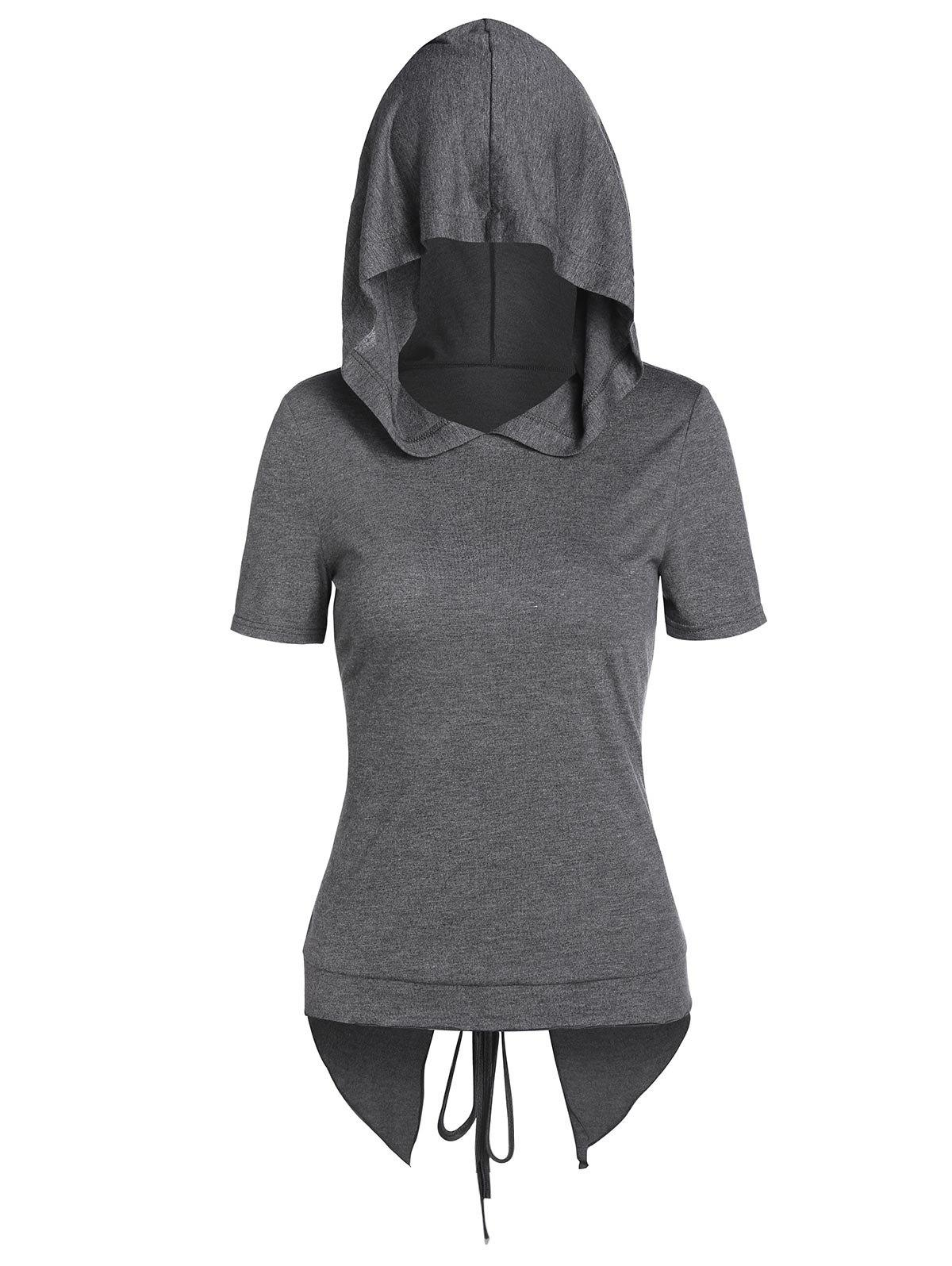 Hooded Heathered Lace-up Back Slit High Low T-shirt - SMOKEY GRAY M