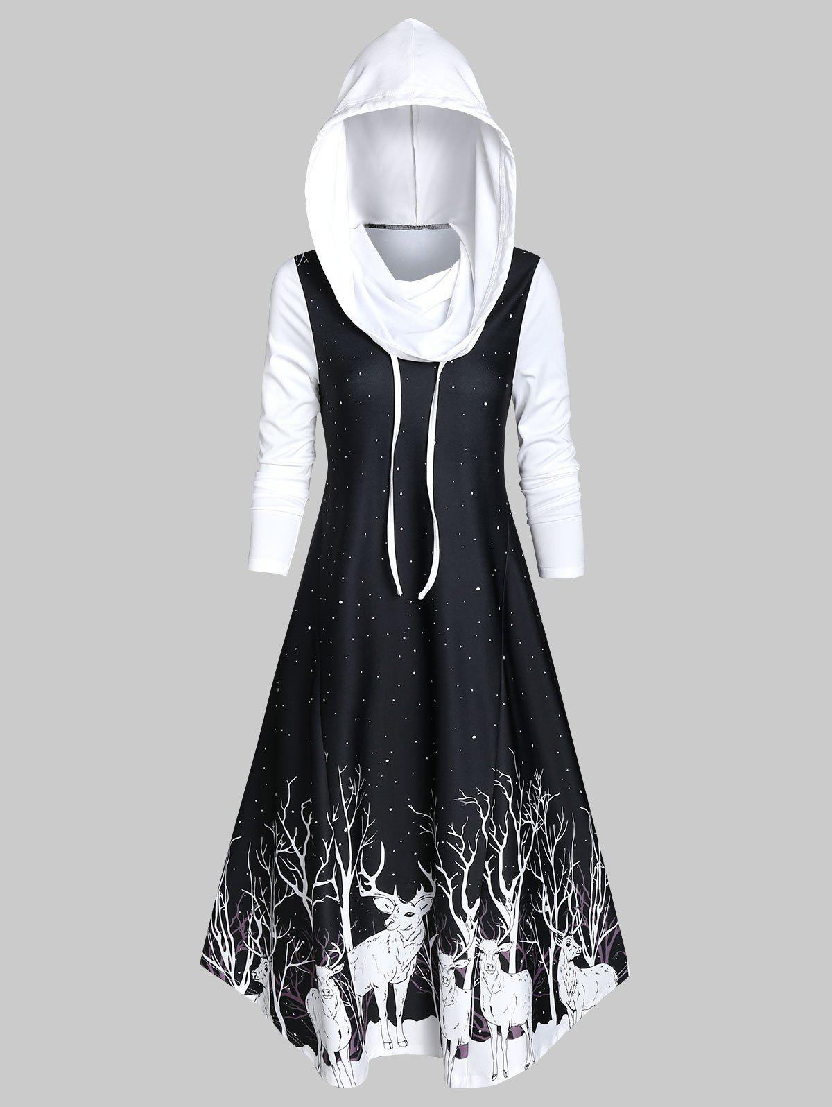 Hooded Deer Print A Line Long Sleeve Dress - BLACK M