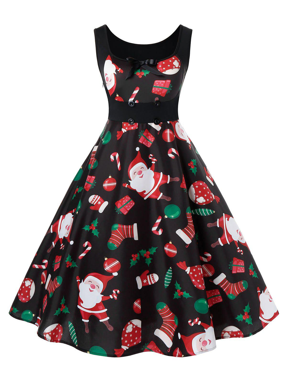 Plus Size Christmas Printed Vintage Fit and Flare Dress - BLACK 5X