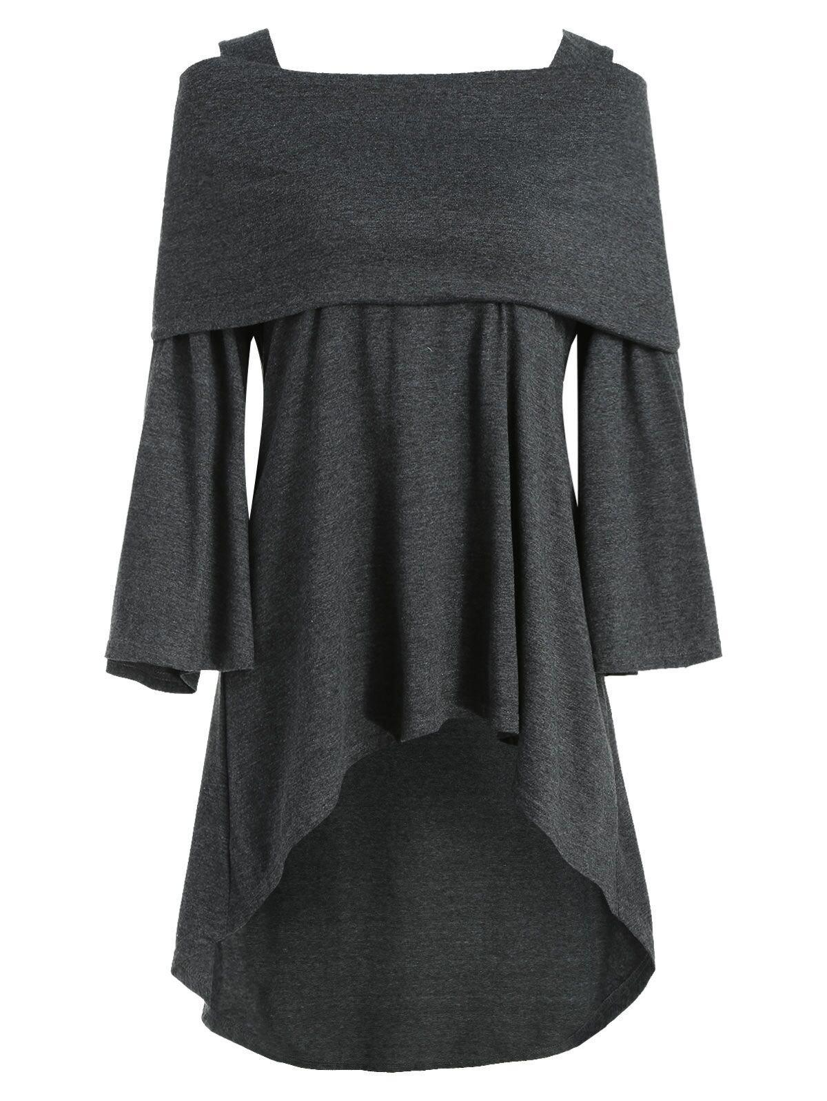Plus Size Foldover Bell Sleeve High Low T Shirt - GRAY 3X