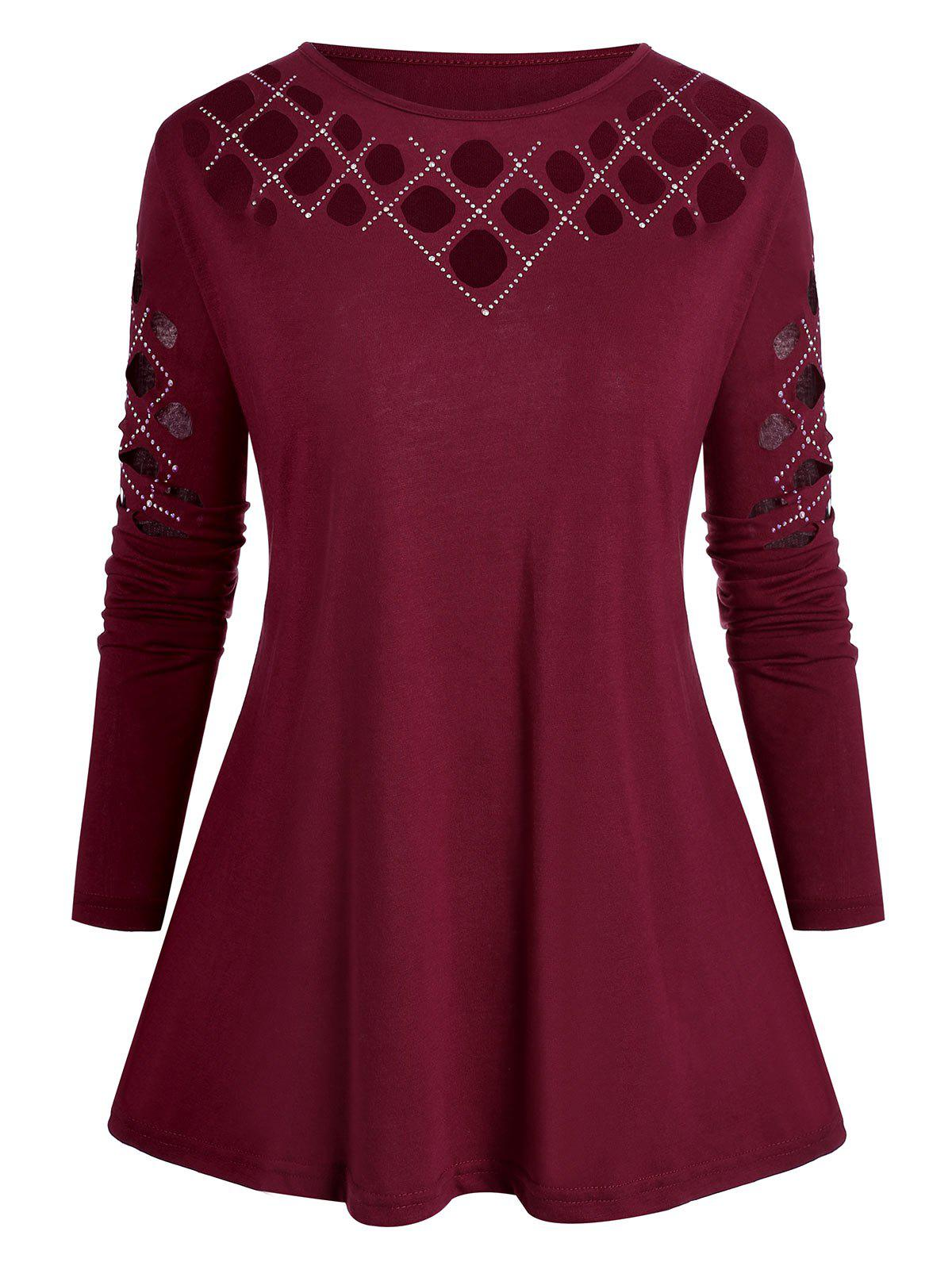 Plus Size Studded Cutout Long Sleeve Tee - ROSE RED 2X