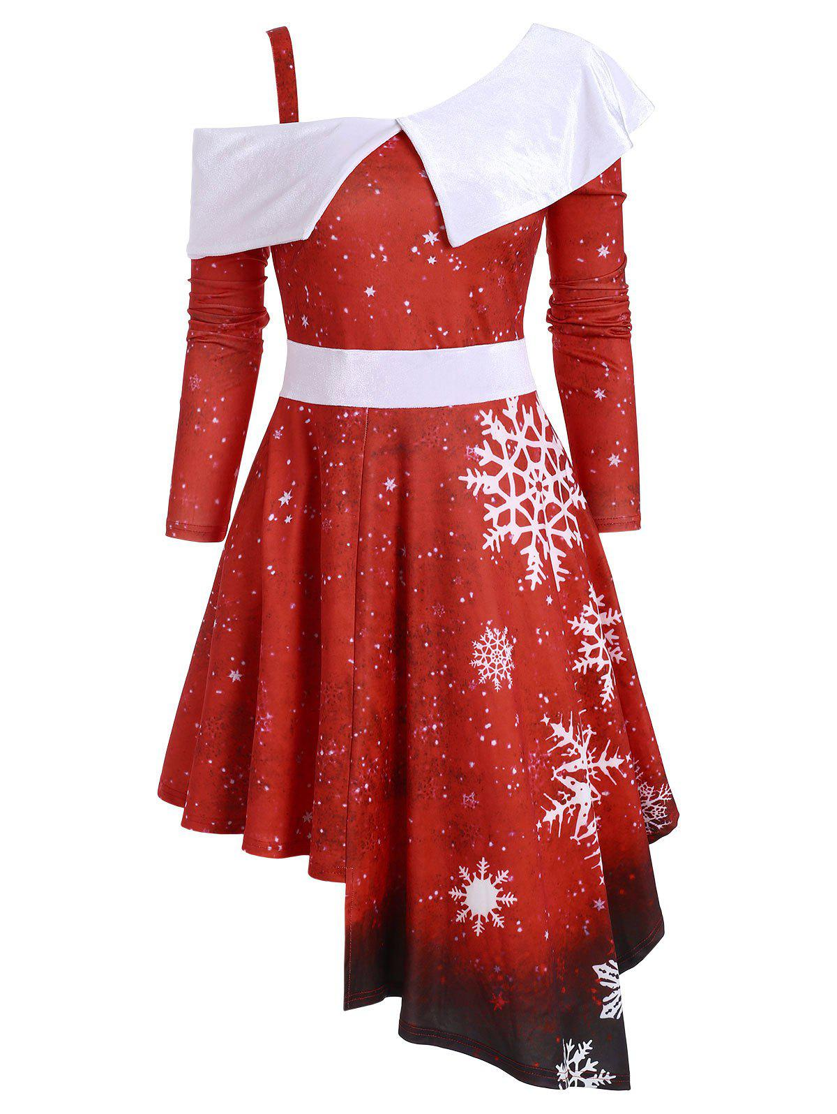 Snowflake Skew Neck Asymmetric Christmas Dress - RED 2XL
