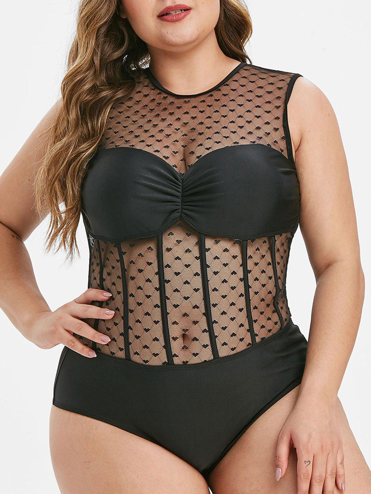 Plus Size Sheer Mesh Panel Ruched One-piece Swimwear - BLACK L
