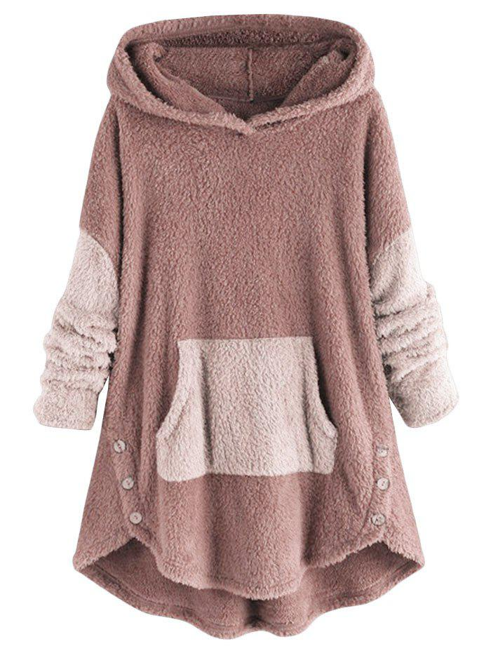 Front Pocket High Low Fluffy Faux Shearling Plus Size Hoodie - PINK 4X