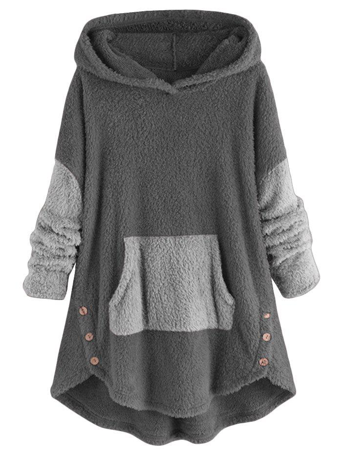 Front Pocket High Low Fluffy Faux Shearling Plus Size Hoodie - GRAY L