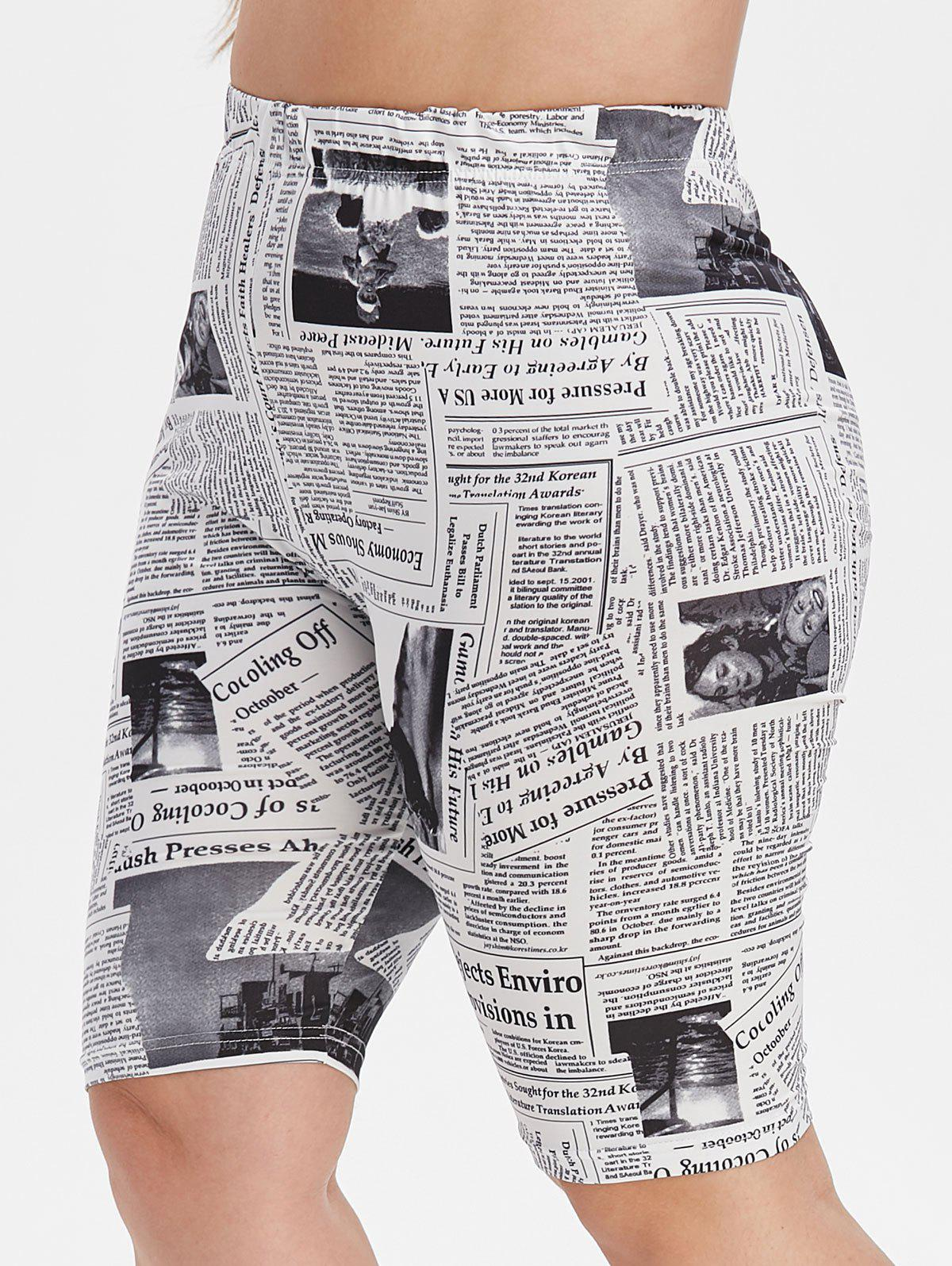 Plus Size High Waisted Newspaper Print Biker Shorts - WHITE 2X