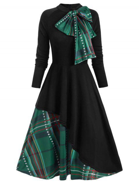 Plaid Contrast Bowknot Long Sleeves Overlay Dress