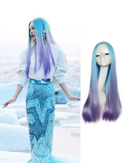 Center Part Long Ombre Straight Synthetic Cosplay Wig - TRON BLUE 24INCH