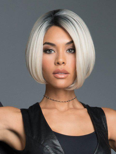 Ombre Straight Bob Synthetic Center Part Wig - WARM WHITE 8INCH