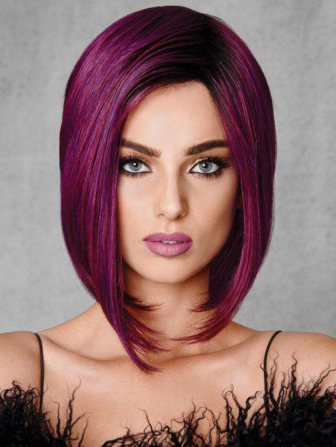 Side Part Straight Medium Synthetic Bob Wig - MAROON 12INCH