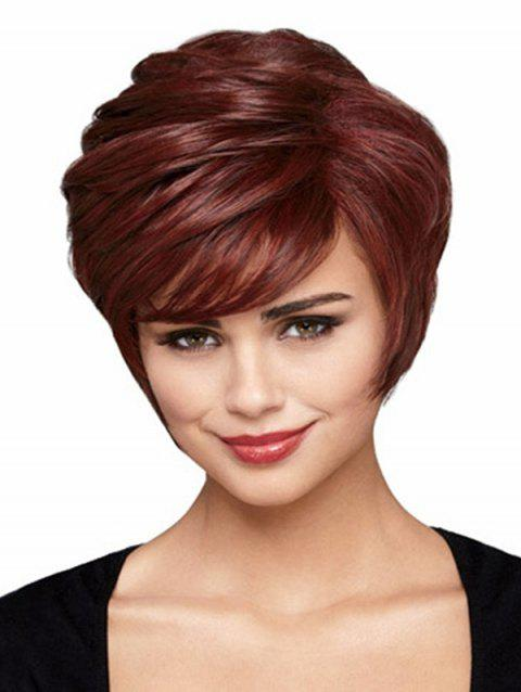 Short Straight Side Bang Synthetic Wig - RED WINE 6INCH